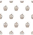 Seamless pattern of cute cupcake vector image