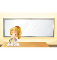 A girl writing in front of a white board vector image vector image
