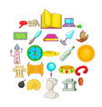 archaeology icons set cartoon style vector image vector image