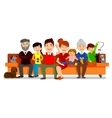 Big Happy Family sit on sofa Parents with vector image vector image