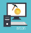 bitcoin business with desktop computer vector image vector image