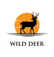 black deer silhouette logo with sunset background vector image vector image