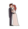 bride and fiance kissing cartoon vector image vector image