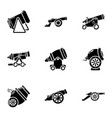 cannon icons set simple style vector image vector image