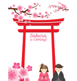 Cherry Blossoms with Torii Gate and Couple vector image vector image