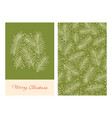 christmas greeting cards with pine branches vector image vector image