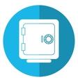 closed safe box money bank shadow blue circle vector image