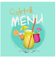 cocktail menu set of cocktail circle blue backgrou vector image vector image