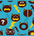 colorful background with cats faces in retro style vector image