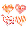 colorful grunge hearts stamp collection vector image vector image