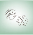 dices sign brown flax icon on green vector image