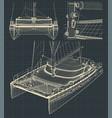 drawings of a modern catamaran vector image vector image