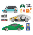 electrocar and charging station electric car vector image vector image