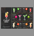 flat cocktail menu design vector image vector image