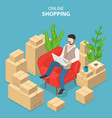 flat isometric concept of easy shopping e vector image vector image