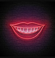 glow beautiful smile with white teeth and red lips vector image vector image