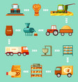 grain harvesting and baking steps set sowing vector image vector image