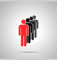 group men silhouettes in a row with leader vector image vector image