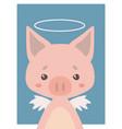 guardian angel pig vector image vector image