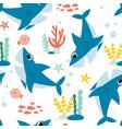 hand drawing shark print design vector image vector image