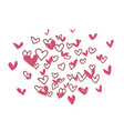 hand drawn hearts on white vector image