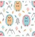 Hand drawn seamless pattern with cute cartoon