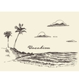 hand drawn vacation poster seaside beach sketch vector image vector image