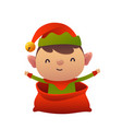 happy new year cartoon card christmas elf in vector image vector image