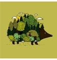 hedgehog and forest nature vector image vector image