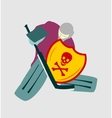 ice hockey goalie with knight shield vector image vector image