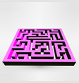 maze labyrinth puzzle white on grey background 3d vector image vector image