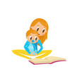 mom reading a book to her baby family early vector image vector image