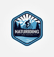 nature riding bike festival logo vector image vector image