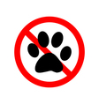 No Animal Paw Sign vector image