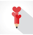 pencil with hearts vector image vector image