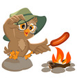 picnic owl scout frying sausage on fire vector image vector image