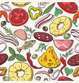 pizza ingredients pattern vector image vector image
