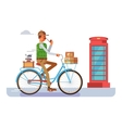 Retro postman on a bicycle vector image vector image