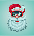santa claus head with snowboard mask winter sport vector image vector image