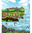 scene with animals and kids at zoo vector image vector image