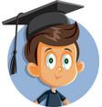 school boy with graduation hat vector image
