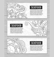 seafood banner set collection of horizontal vector image vector image