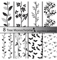 set black and white tree seamless patterns vector image vector image
