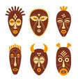 set ethnic tribal masks vector image