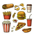 set fast food cup cola coffee hamburger pizza vector image vector image