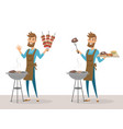 set happy man grilling meat on barbecue grill vector image vector image