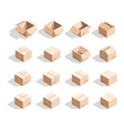 Set of 16 realistic isometric cardboard boxes with vector image