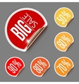 Set of Discount Labels with Curled Gold Edge vector image vector image