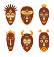 set of ethnic tribal masks vector image