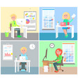 set of office workers colorful vector image vector image
